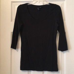 Basic Black 3/4 Sleeve Tee Shirt